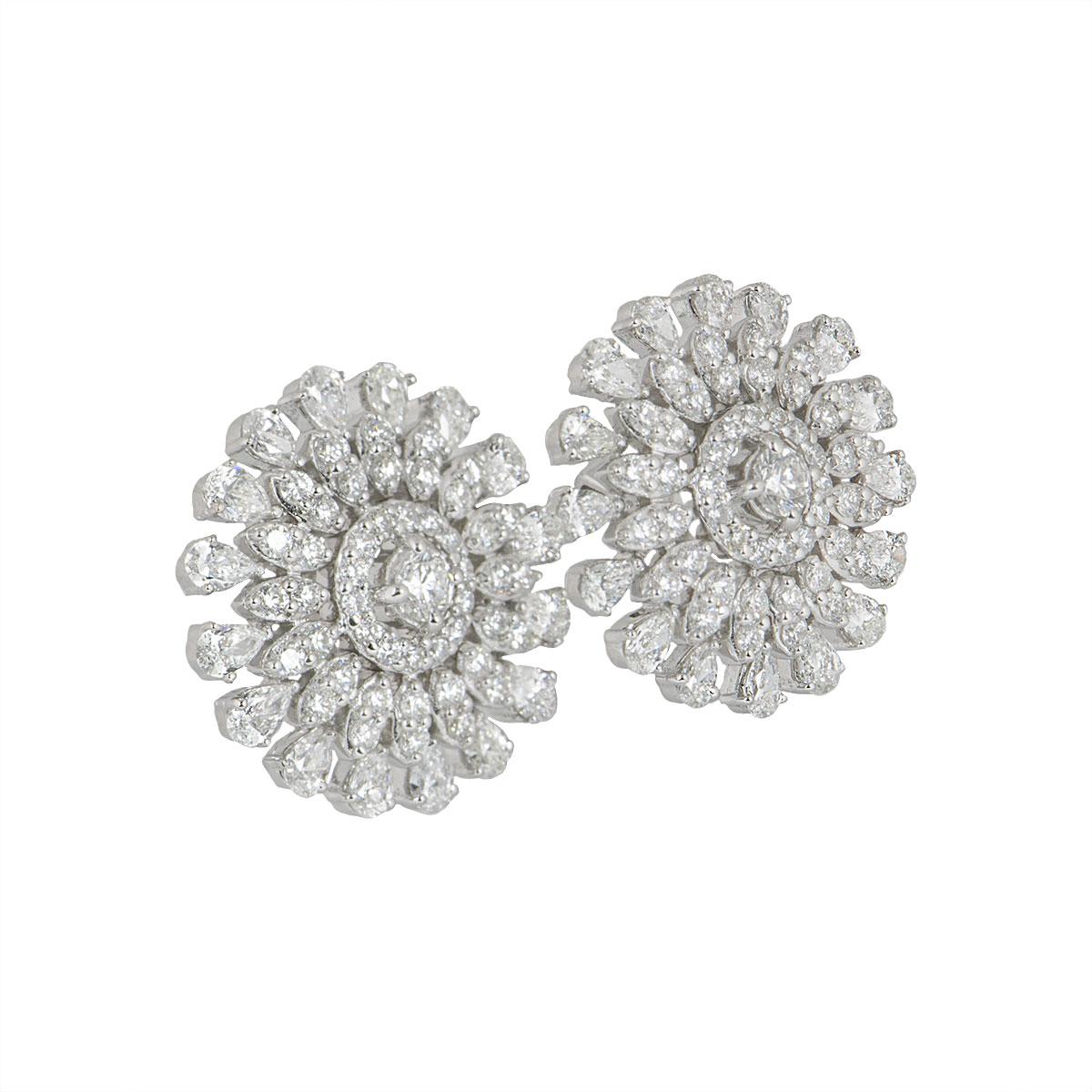 White Gold Diamond Earrings 3.15ct
